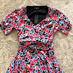 Dynamite Floral Wrap Short Sleeve Maxi Dress